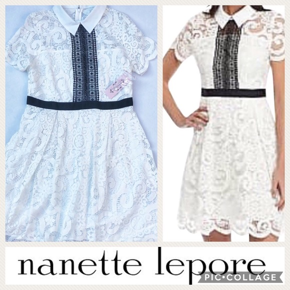 d0af423950 Nanette Lepore Dresses | White Lace Affair Collared Dress | Poshmark